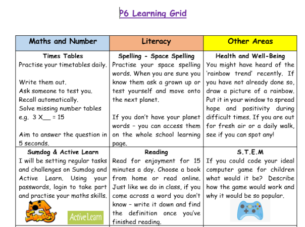 Home Learning Grid 2 1