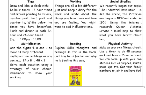 Home Learning Grid 2 2