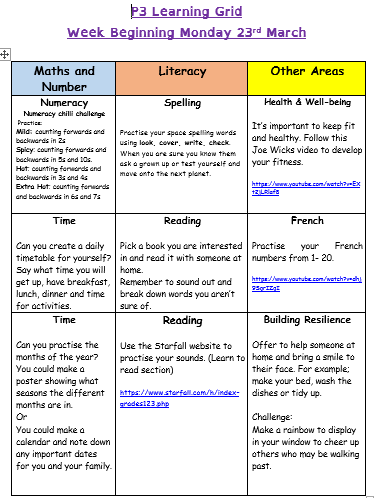 home learning grid 23rd March