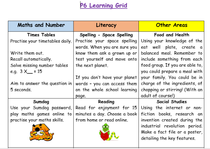 P6 Learning Grid 1