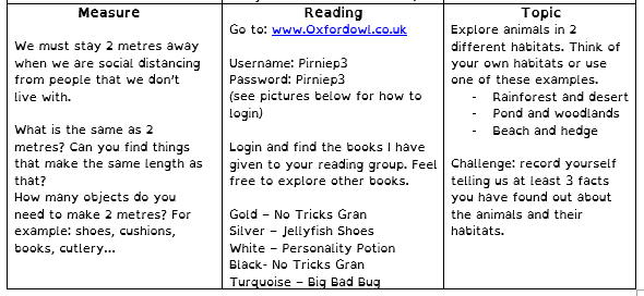 Home learning grid 27th April 2