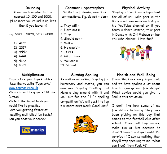 P6 Home Learning Grid Week 4 (2)
