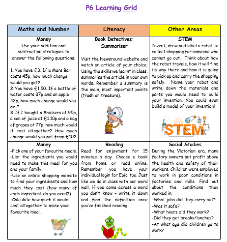 P6 Home Learning Grid Week 4