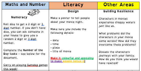 Home Learning Grid 18th May