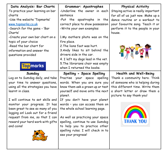 P6 Home Learning Grid Week 5 2