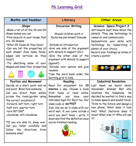 P6 Home Learning Grid Week 7