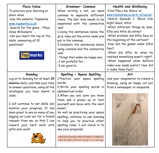P6 Home Learning Week 6 2