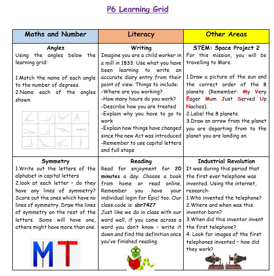P6 Home Learning Week 6