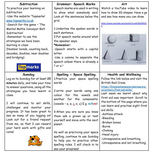 P6 Home Learning Week 8 2