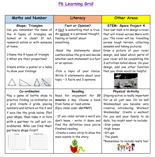 P6 Home Learning Week 8