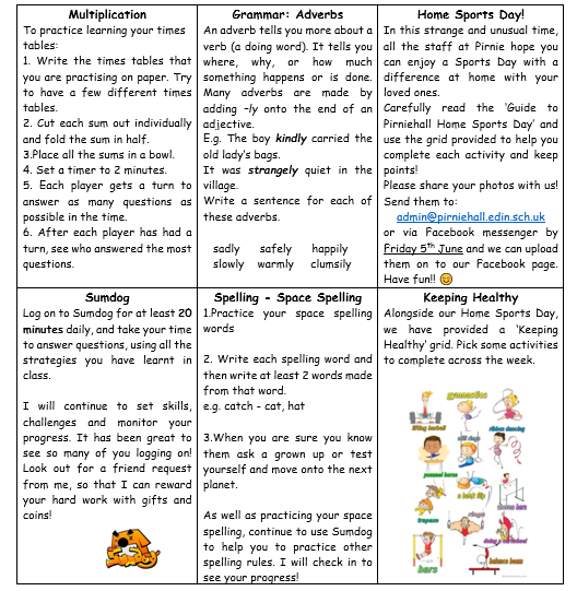 P6 Learning Grid Week 9 2