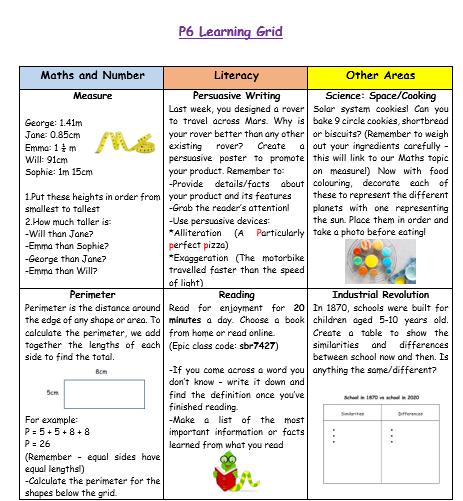 P6 Learning Grid Week 9