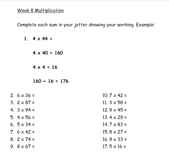 Week 8 Multiplication