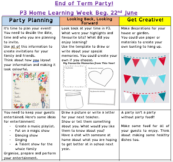 P3 Home learning 22nd June 1