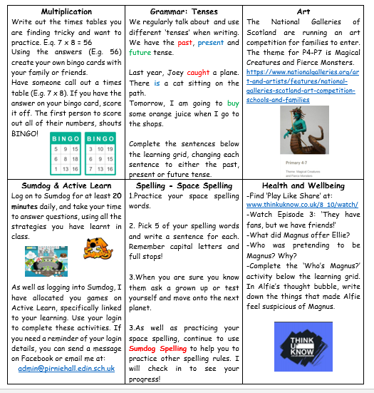 P6 Home Learning Week 11 2