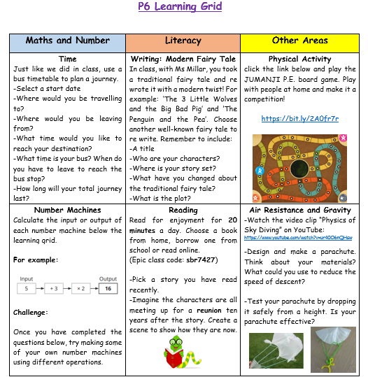 P6 Home Learning Week 11