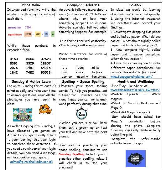 P6 Learning Grid Week 10 1