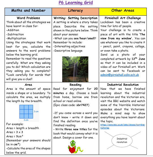 P6 Learning Grid Week 10
